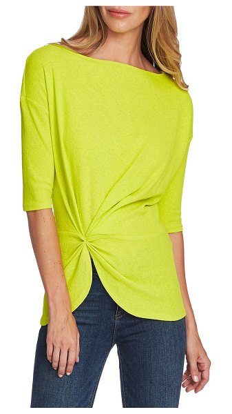 Vince Camuto side cinched crepe top in lime chrome