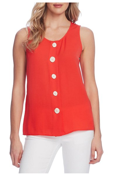 Vince Camuto sleeveless button-up blouse in bright ladybug