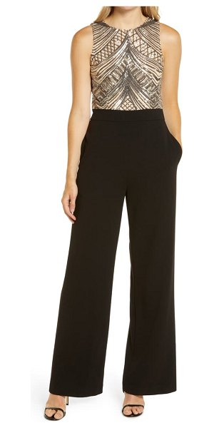 Vince Camuto sleeveless sequin bodice jumpsuit in black/ tan
