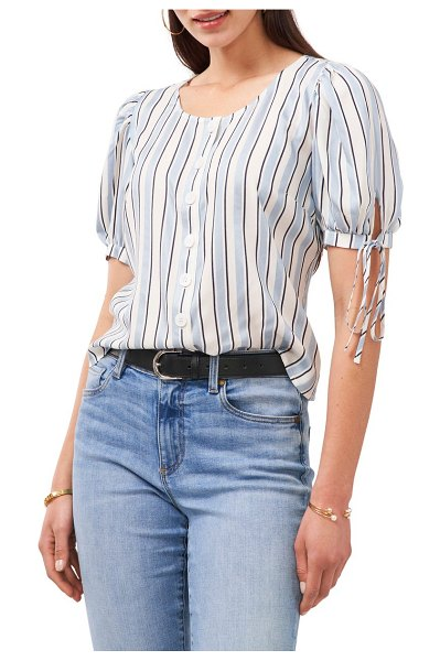 Vince Camuto stripe tie sleeve blouse in canyon blue
