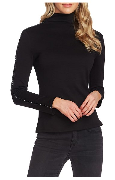 Vince Camuto stud faux leather detail top in rich black