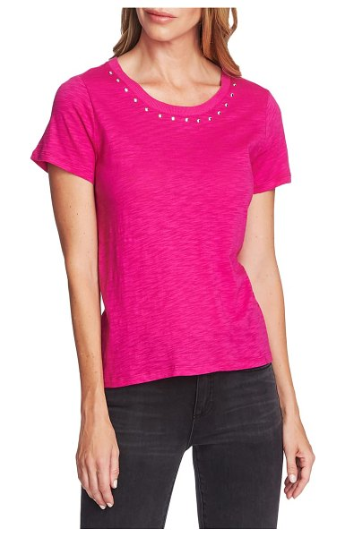 Vince Camuto studded crewneck tee in pink shock