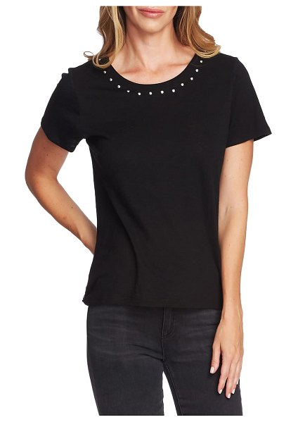 Vince Camuto studded crewneck tee in rich black