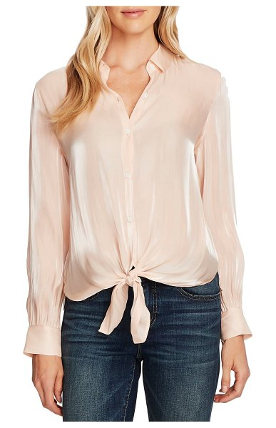 Vince Camuto tie front iridescent blouse in apricot cream