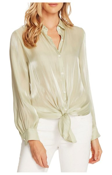 Vince Camuto tie front iridescent blouse in fresh aloe