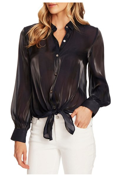 Vince Camuto tie front iridescent blouse in night navy