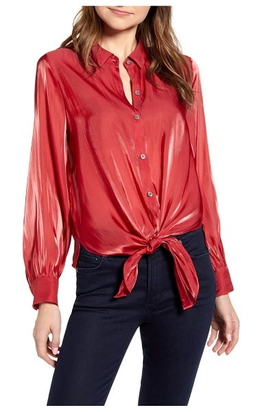 Vince Camuto tie front iridescent blouse in rhubarb