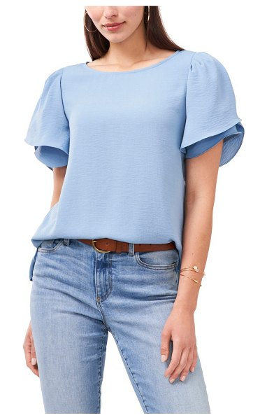 Vince Camuto tiered sleeve blouse in canyon blue