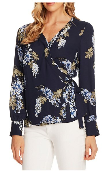 Vince Camuto weeping willows wrap blouse in night navy