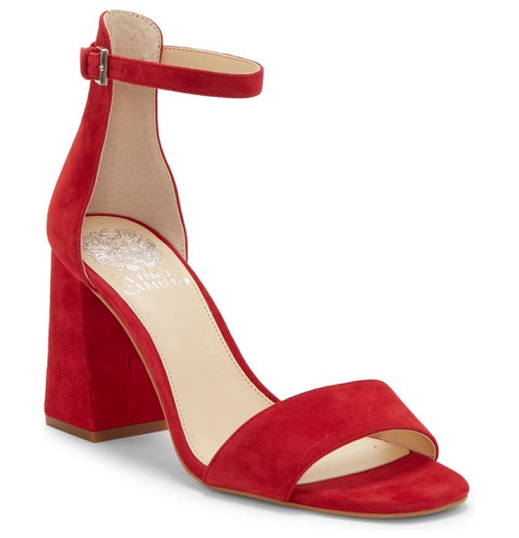 Vince Camuto winderly ankle strap sandal in ramba red suede