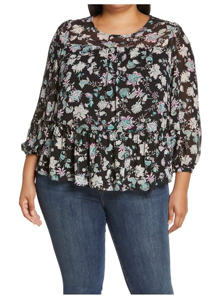Vince Camuto windsor blooms tiered blouse in rich black