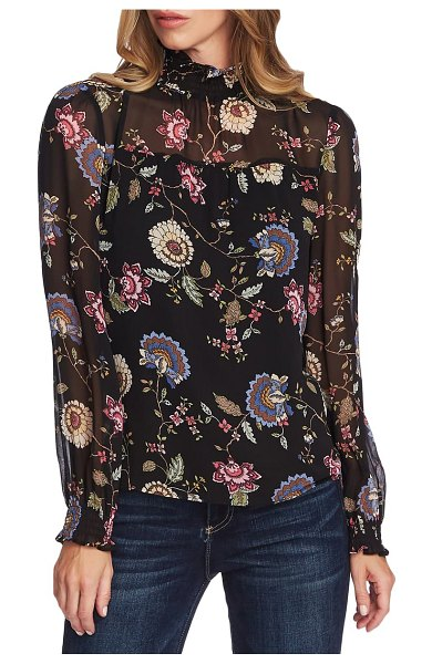Vince Camuto windsor floral chiffon top in rich black