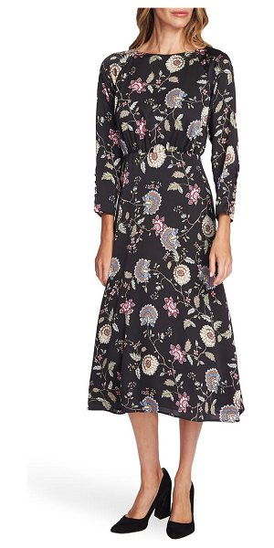 Vince Camuto windsor floral long sleeve midi dress in rich black