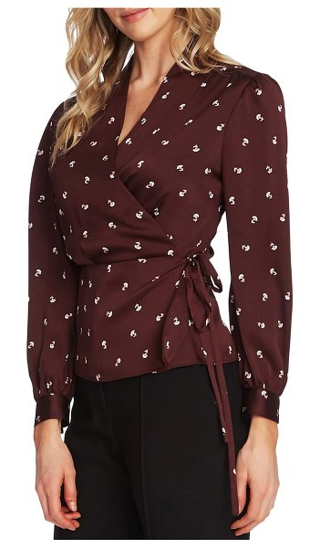 Vince Camuto wrap front peplum blouse in port