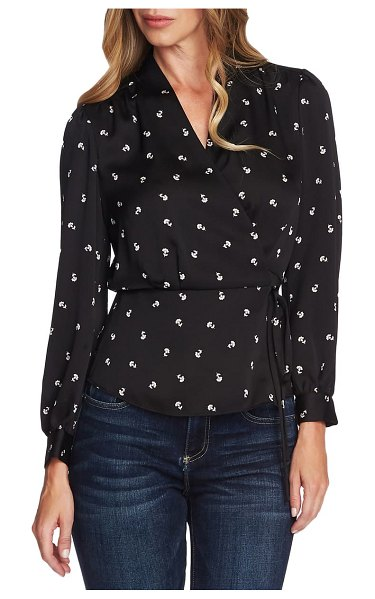 Vince Camuto wrap front peplum blouse in rich black