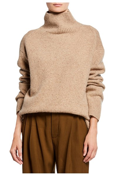 Vince Cashmere Double-Slit Turtleneck Sweater in beige
