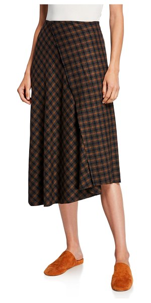 Vince Check Plaid Wool Draped Skirt in brown