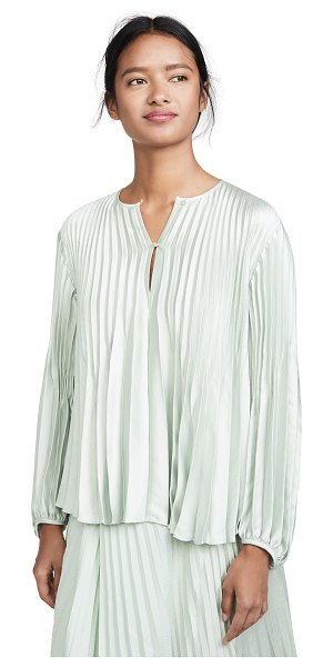 Vince chevron pleated blouse in aloe