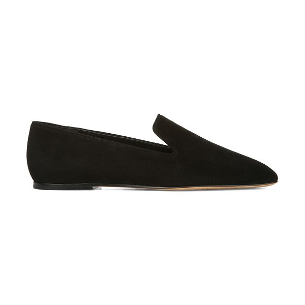 Vince clark square-toe suede loafers in black