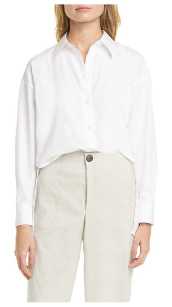 Vince convertible cotton button-up shirt in optic white
