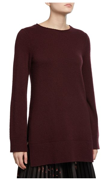Vince Crewneck Side-Slit Cashmere Tunic in purple