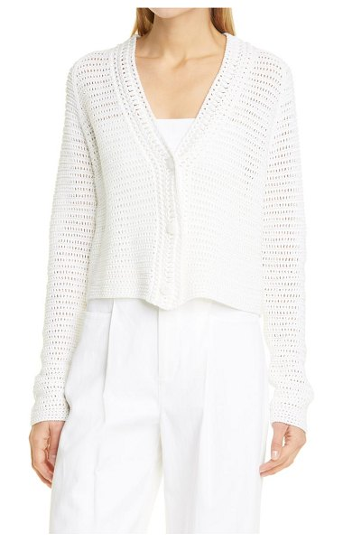 Vince crochet cotton cardigan in optic white