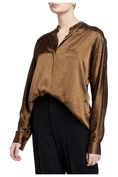 Vince Dot-Print Long-Sleeve Silk Popover Top in brown