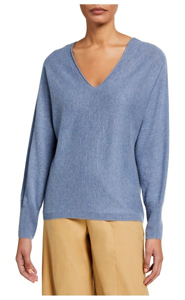 Vince Double V-Neck Cashmere-Linen Sweater in h sky graphite