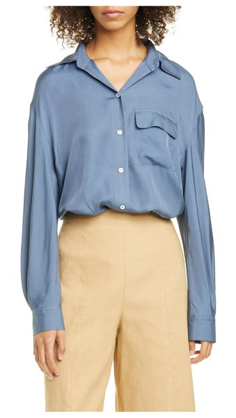 Vince easy utility silk blend button-up shirt in mosaic blue