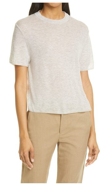 Vince easy wool blend short sleeve sweater in light grey