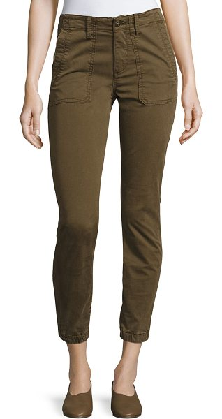 Vince Elastic-Hem Patch-Front Utility Pants in dark willow wash - Vince utility pants in cotton-stretch blend. Approx....