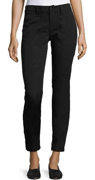 VINCE Elastic-Hem Patch-Front Utility Pants - Vince utility pants in cotton-stretch blend. Front patch...