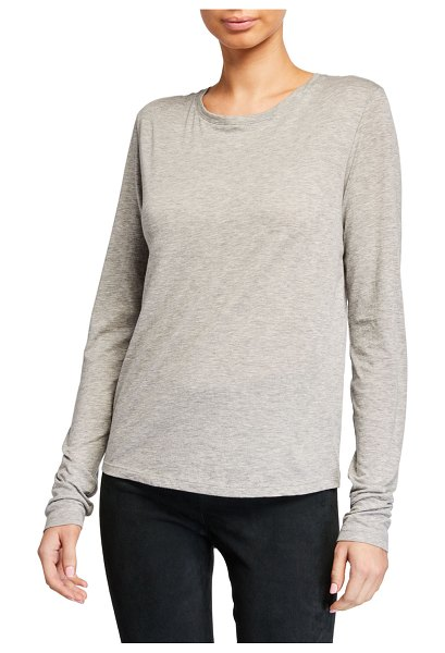 Vince Essential Long-Sleeve Crewneck Tee in gray