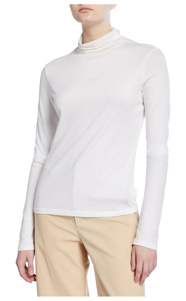 Vince Essential Long-Sleeve Turtleneck Top in white
