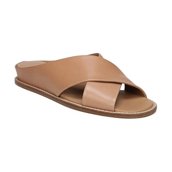 Vince fairley cross strap sandal in tan leather