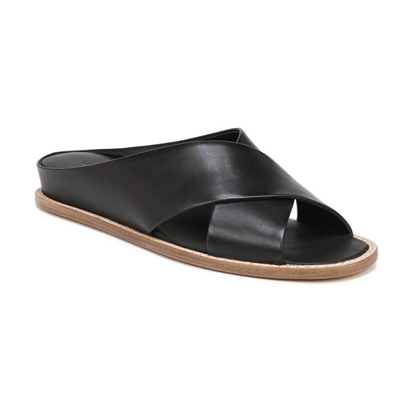 Vince fairley cross strap sandal in black leather