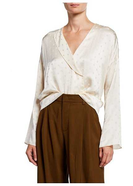 Vince Halo Dot Draped Panel Blouse in white