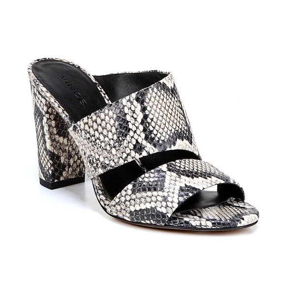 Vince Hiro Snake-Print Leather Mule Sandals in python