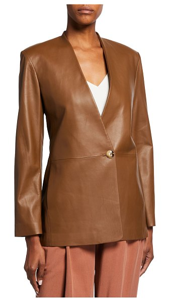 Vince Leather Collarless Blazer in fawn