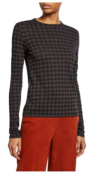 Vince Long-Sleeve Check Plaid Top in gray