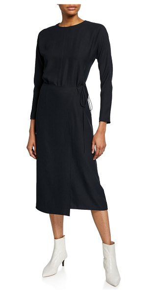 Vince Long-Sleeve Draped Button-Back Dress in black