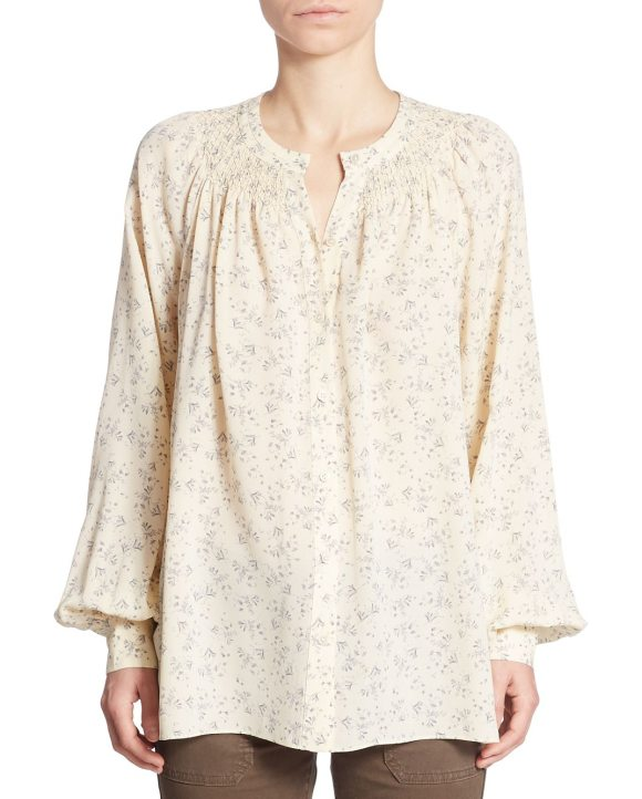 Vince long sleeve floral print top in sheepskin - Delightful floral print accessorizes this fashionable...