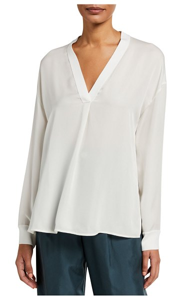 Vince Long-Sleeve Rib Trim V-Neck Top in off white