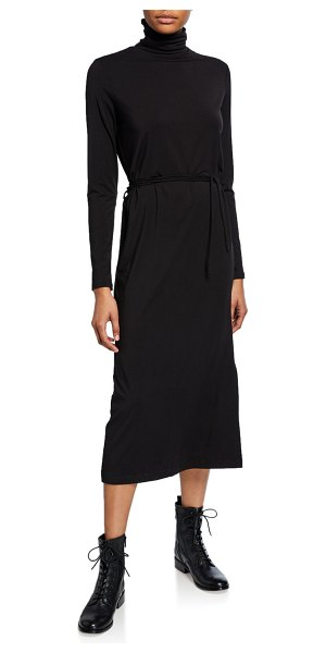 Vince Long-Sleeve Turtleneck Midi Dress in black