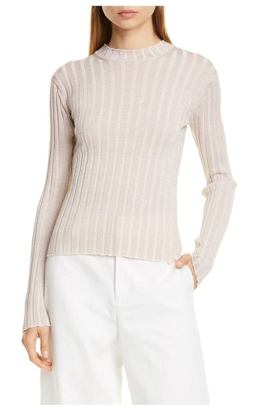 Vince metallic thread ribbed mock neck wool blend sweater in chiffon