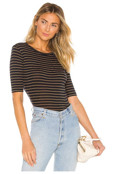 Vince micro double stripe elbow crew in coastal & honeysuckle