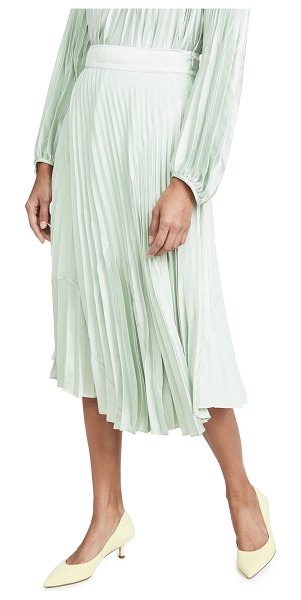 Vince mixed media pleated skirt in aloe