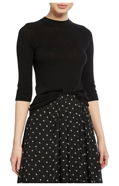 Vince Mock-Neck Elbow-Sleeve Top in black