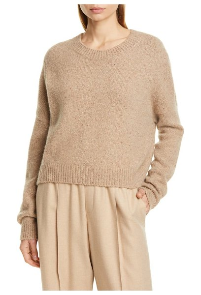 Vince oversize boxy cashmere crewneck sweater in camel