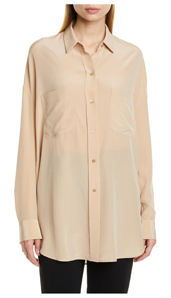 Vince oversize silk button-up blouse in limestone